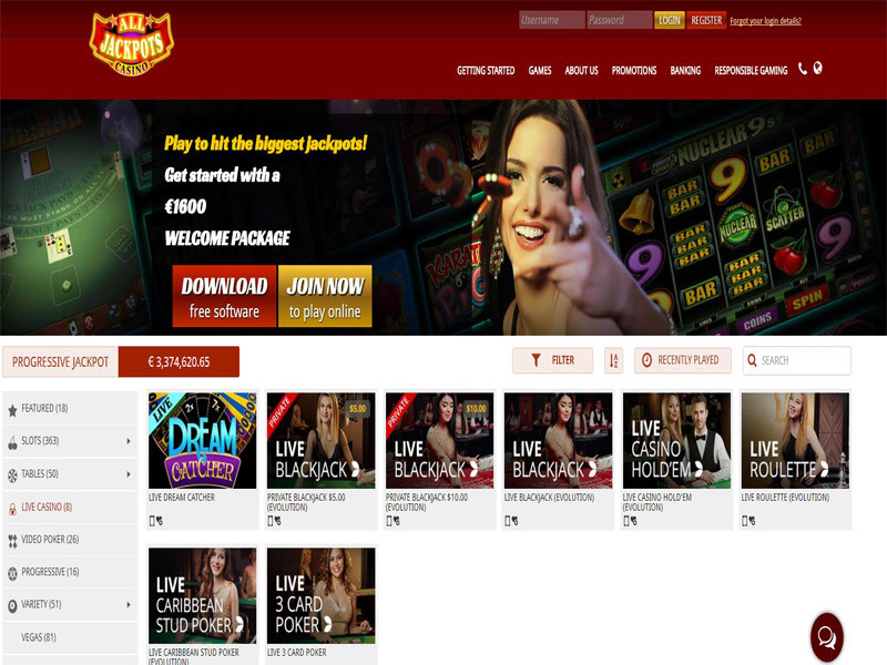 Casino preview image All Jackpots Casino